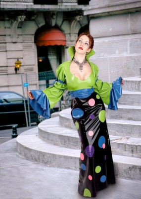 Custom Latex Dress with Polka Dots