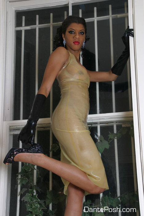Dante Posh in Transparent Latex Dress