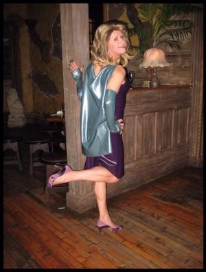 custom latex dress & cape