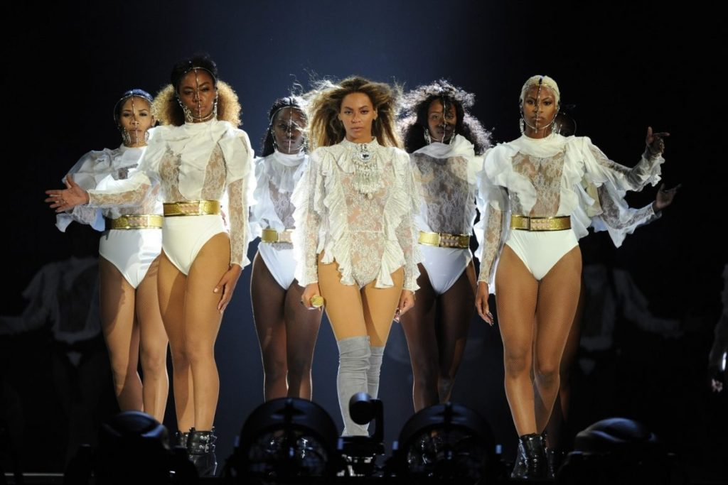 Beyonce's Dancers wearing The Baroness' Latex Knickers in White